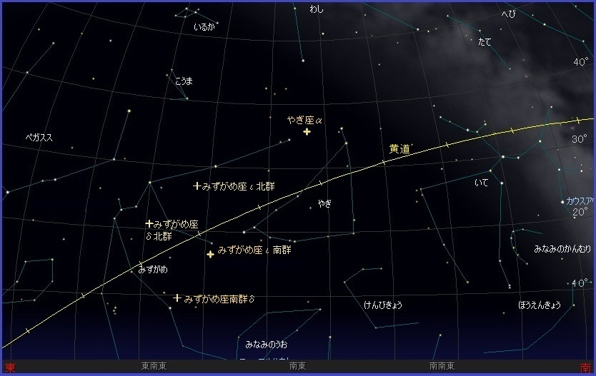 水瓶座流星群2013年7月29日午後10時頃の南東の空
